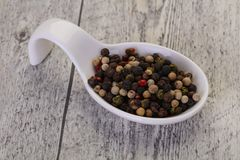 Pepper corn mix. Black, red, white and green stock photography