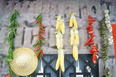 Pepper, corn, and straw hat Royalty Free Stock Image