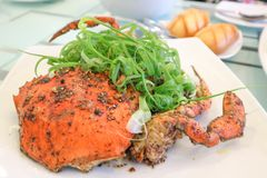 Pepper crab or stir fried crab Royalty Free Stock Photography