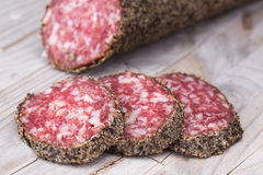 Pepper crusted salami Royalty Free Stock Photos
