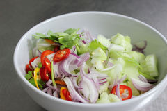 Pepper, cucumber, red onion, sliced. A mixed Pepper, cucumber, red onion, sliced Royalty Free Stock Image