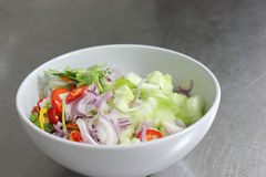 Pepper, cucumber, red onion, sliced. A mixed Pepper, cucumber, red onion, sliced Stock Images