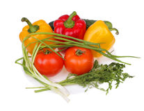 Pepper, cucumbers, tomatoes, parsley and fenne. Royalty Free Stock Photo