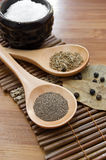 Pepper, cumin, salt and bay leaf Royalty Free Stock Photos
