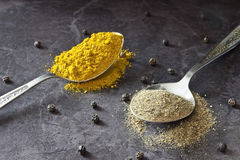 Pepper and curry. Spices in a spoon on the table Royalty Free Stock Photos