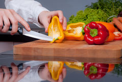 Pepper cutting Stock Image