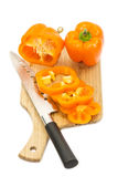Pepper on a cutting board. And knife Royalty Free Stock Photography