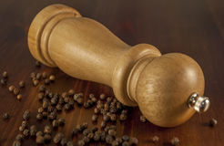 Pepper. Detail of pepper pot on wood table royalty free stock image