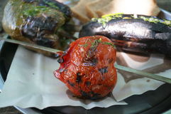 Pepper eggplant tomato on skewers. Cooked on the grill royalty free stock images