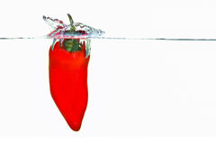 Pepper falling into water with a splash. Red pepper falling into water with a splash stock image