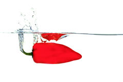 Pepper falling into water with a splash. Red pepper falling into water with a splash royalty free stock images