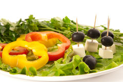 Pepper, feta cheese, olives and lettuce Stock Image