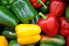 Pepper fresh vegetable. Closeup isolated on white Stock Photos