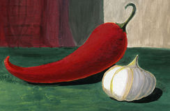 Pepper and garlic. Still-life, gouache Royalty Free Stock Photography