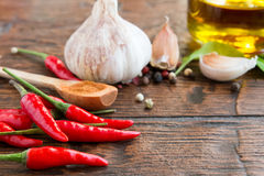 Pepper, garlic and other spices Royalty Free Stock Image