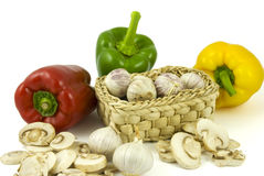 Pepper, Garlics And Champignon Mushrooms Royalty Free Stock Images
