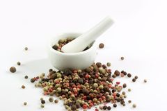 Pepper Grains. Close-up of pepper grains in four different colors Stock Image