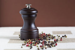 Pepper grains and grinder Royalty Free Stock Image