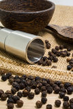 Pepper grinder and black peppercorn Stock Photo