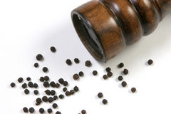 Pepper grinder closeup. A pepper grinder isolated Royalty Free Stock Photos