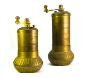 Pepper Grinders. Old Oriental Pepper Grinder with Arabic inscriptions Royalty Free Stock Photo