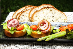 Pepper Ham. Canape with fresh vegetable Stock Image