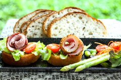 Pepper Ham. Canape with fresh vegetable Stock Photography