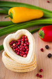 Pepper heart. Heart with red pepper and paprika Royalty Free Stock Photos