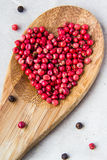 Pepper heart. Heart of pepper on spoon Royalty Free Stock Photos