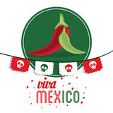 Pepper icon. Mexico culture. Vector graphic. Mexico culture concept represented by pepper over seal stamp icon. Colorfull and flat illustration stock images