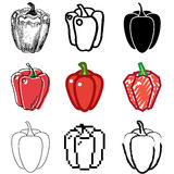 Pepper icons set. Sweet pepper icons vector set royalty free illustration