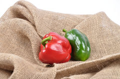 Pepper on jute Stock Images