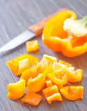 Pepper  and knife Royalty Free Stock Photo
