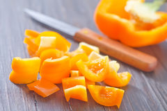 Pepper  and knife Royalty Free Stock Image