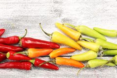 Pepper. Mexican hot chili peppers colorful mix habanero poblano serrano jalapeno on wood.  stock images