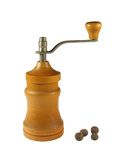 Pepper-mill. Peppermill and black pepper grains Stock Image