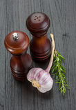 Pepper mill with garlic Stock Photo