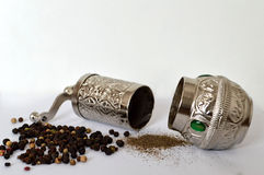 Pepper mill, peppercorn and grounded pepper Stock Image