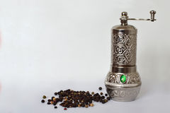 Pepper mill and peppercorn Royalty Free Stock Photography