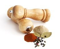 Pepper mill and spices. Isolated on white background Stock Photos