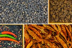 Pepper mix collage pink green white pepper peas flavoring spices, dry constellation starry anise crumbled peppers peppers paprika. Culinary design stock images