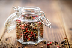 Pepper mix. In a jar Royalty Free Stock Image