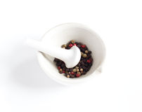Pepper in a mortar Stock Photography