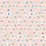 Seamless birds pattern with blots Stock Photo