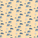 Elephants and rhino wallpaper pattern Royalty Free Stock Photos