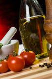 Pepper, oil and tomatoes - close up Royalty Free Stock Photography