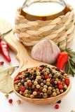 Pepper, olive oil, chinese garlic , herbs and spices Royalty Free Stock Photo