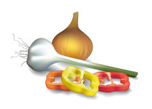 Pepper__onion_garlic Stock Image