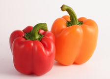 Pepper Pair. Couple of Peppers Just Hanging Out Red and Orange Stock Photos