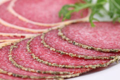 Pepper and parmesan crust salami Royalty Free Stock Images
